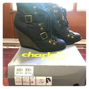 Charlotte Russe Sookie-01 Black Booties Size 8